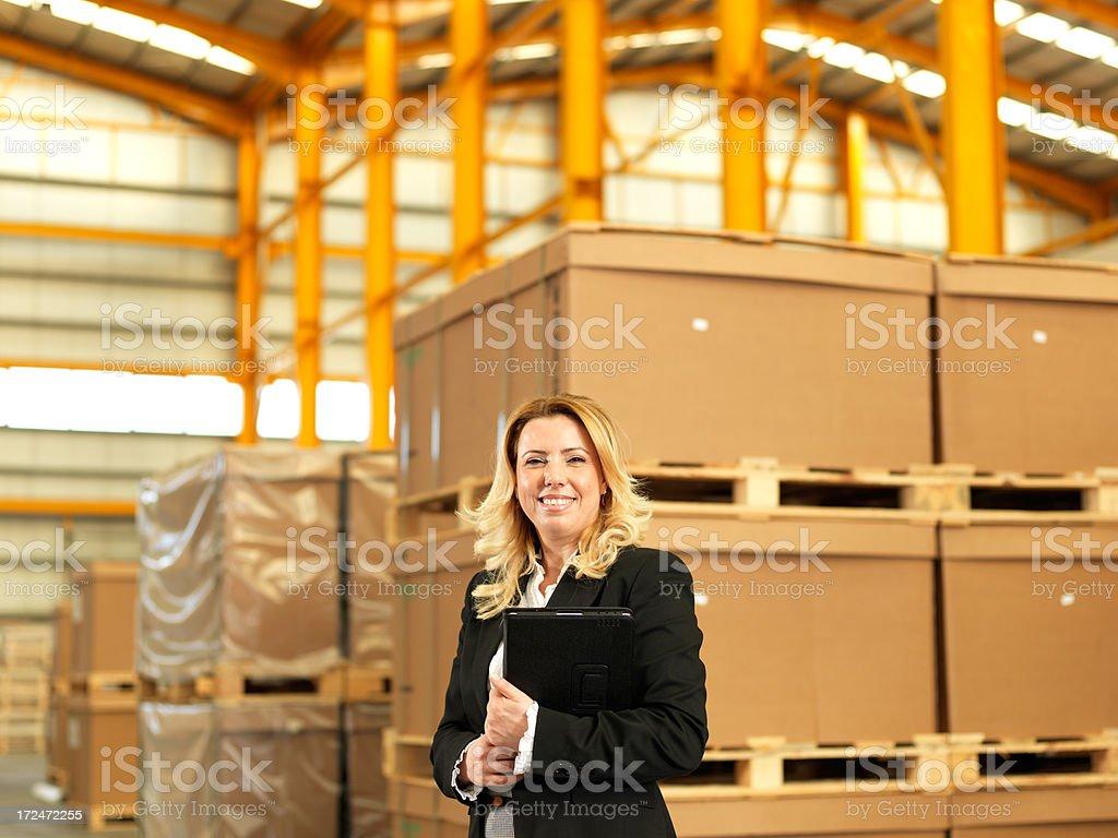 Warehouse Businesswoman royalty-free stock photo