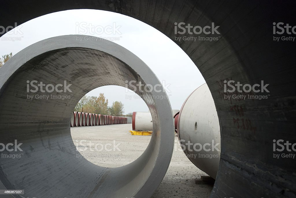 Warehouse concrete pipe royalty-free stock photo