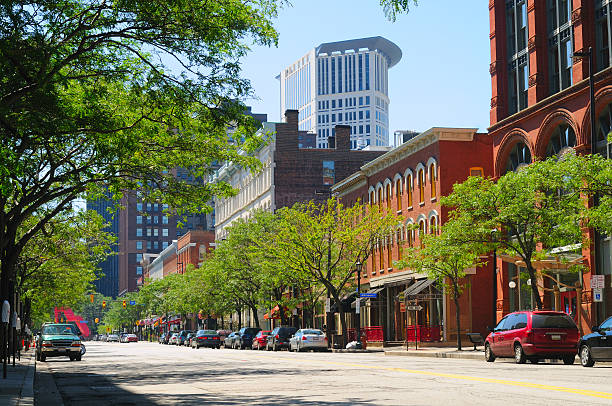 Warehouse District Cleveland stock photo