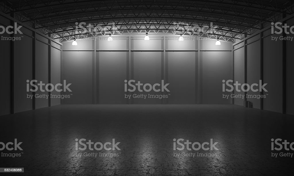 Warehouse empty dark car showroom 3D rendering stock photo
