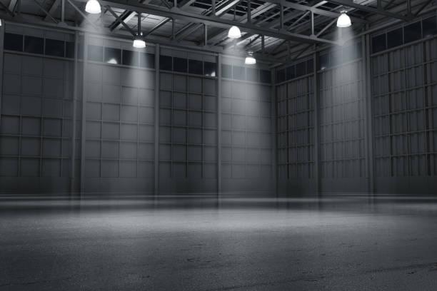 entrepôt vide sombre salle d'exposition automobile représentation en 3d - show room photos et images de collection