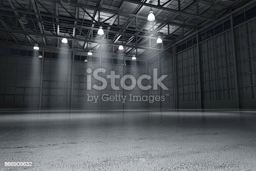 istock Warehouse empty dark car showroom 3D rendering 866909632