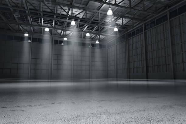 armazém vazio carro escuro sala de exposições representação artística em 3d - alto descrição geral - fotografias e filmes do acervo