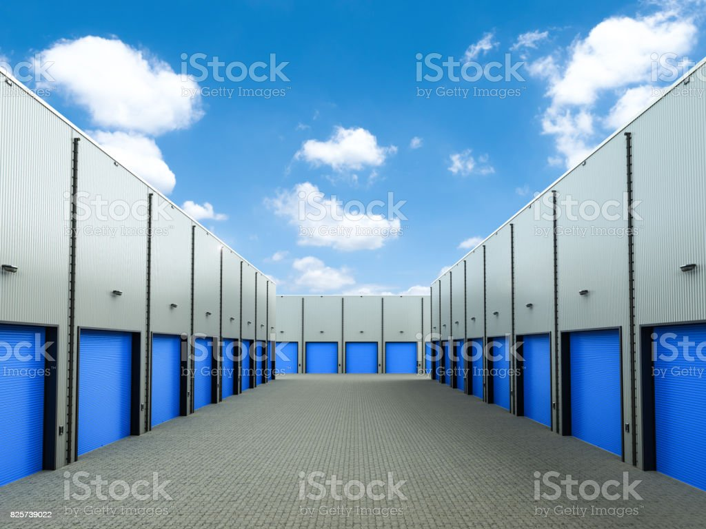 warehouse exterior with doors closed stock photo