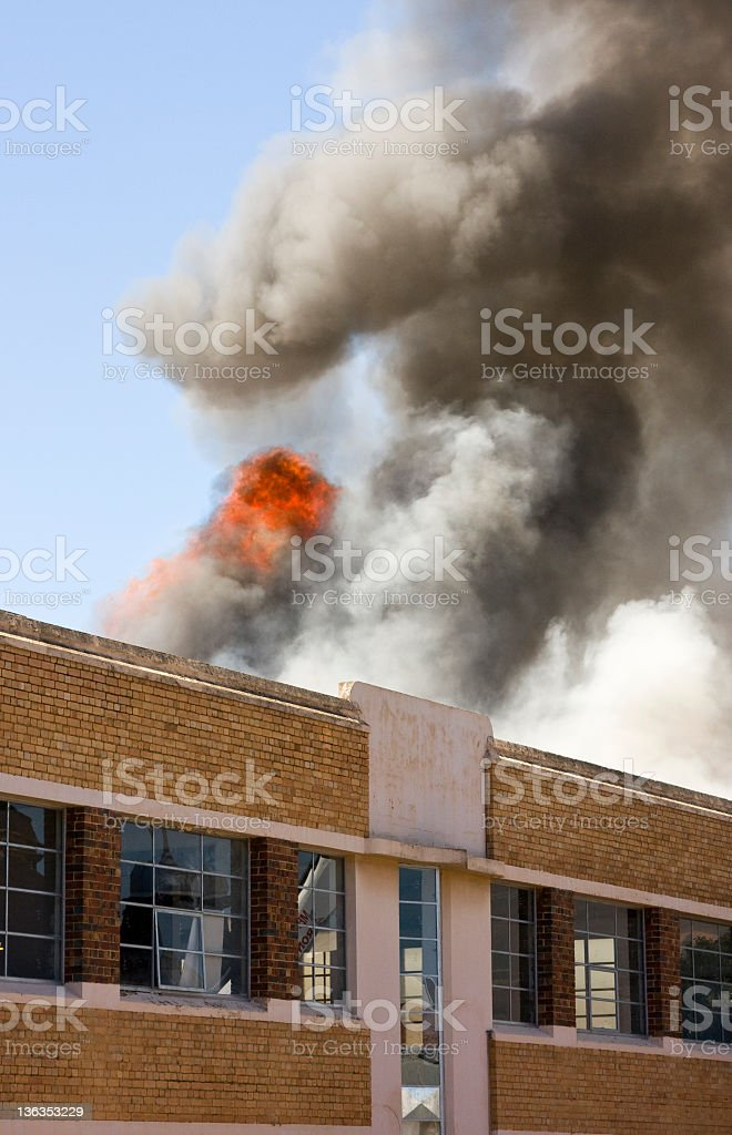 Warehouse fire stock photo