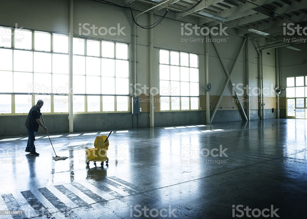 Warehouse Floor Cleaning royalty-free stock photo