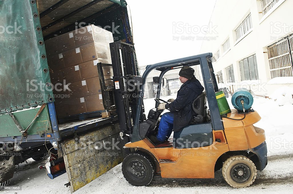 warehouse forklift loader work royalty-free stock photo