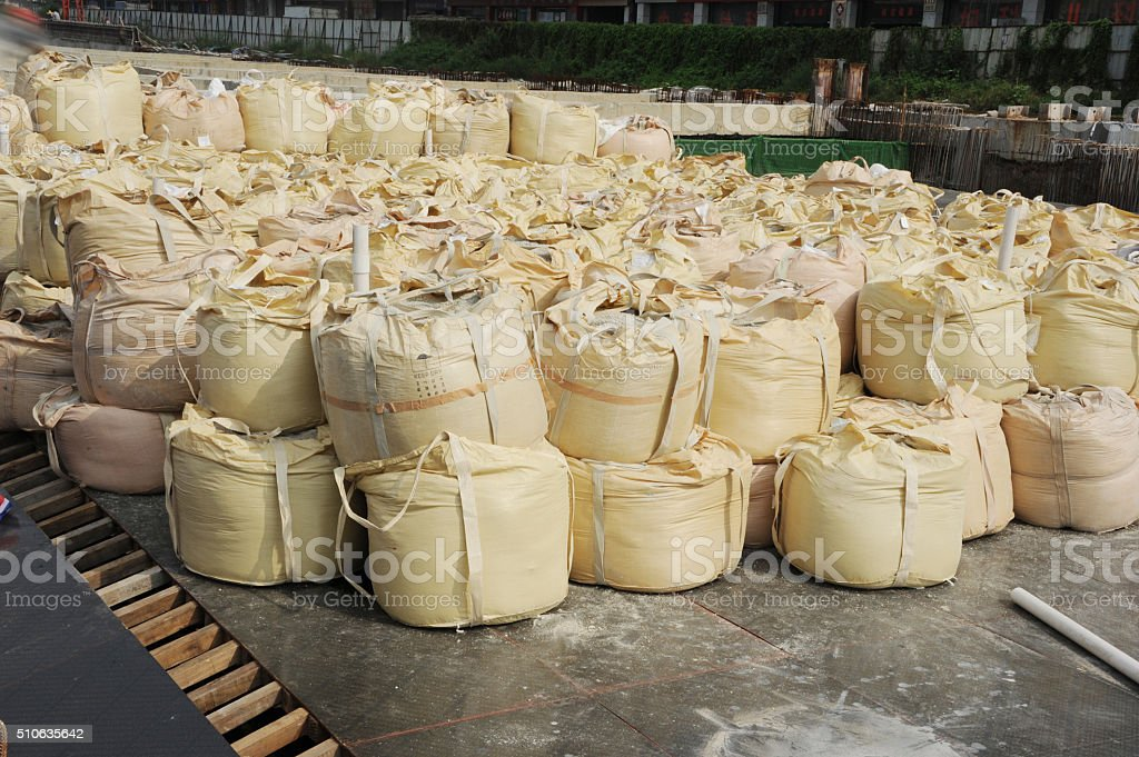 Warehouse goods packed in the open air. stock photo