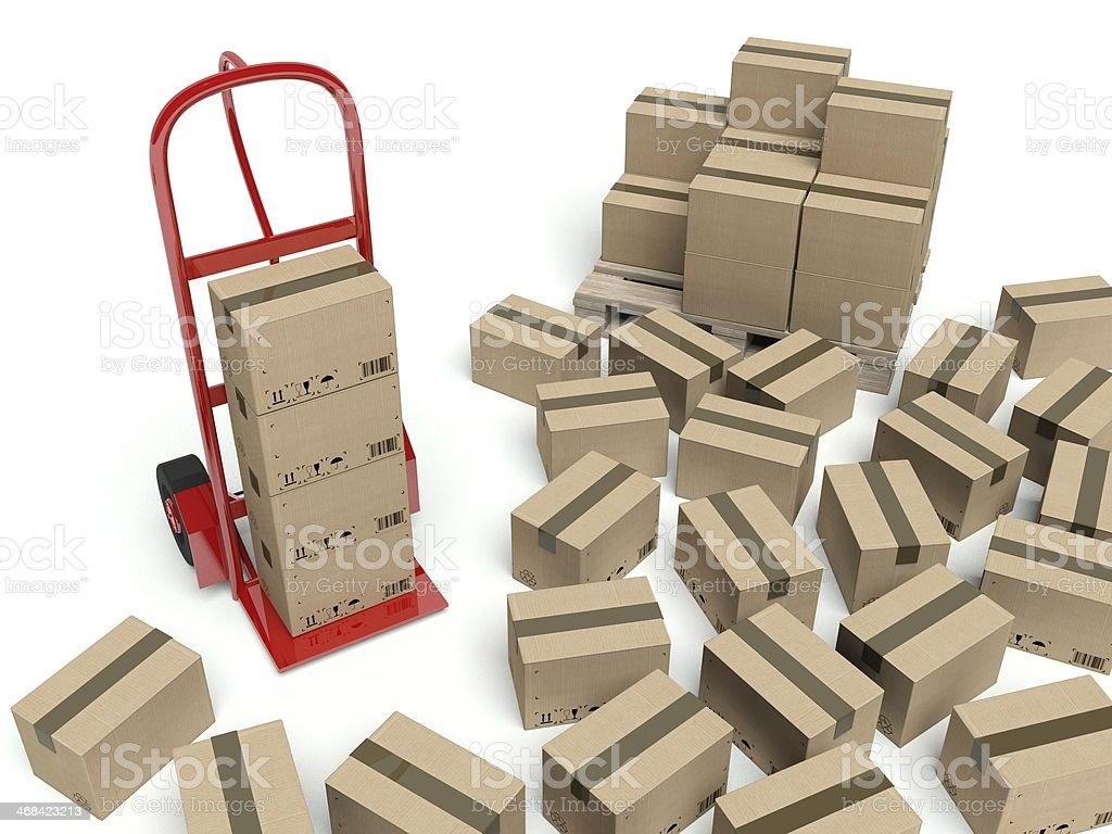 Warehouse hand truck and many cardboard boxes royalty-free stock photo
