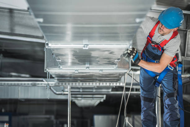 Warehouse Heating and Cooling System Installation stock photo