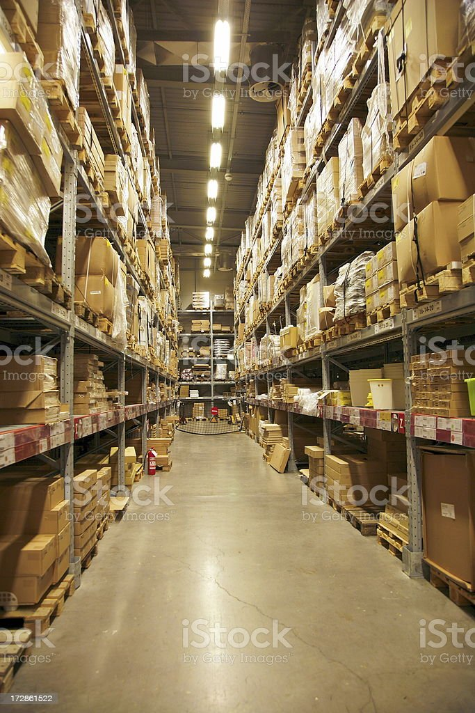 Warehouse in perspective royalty-free stock photo