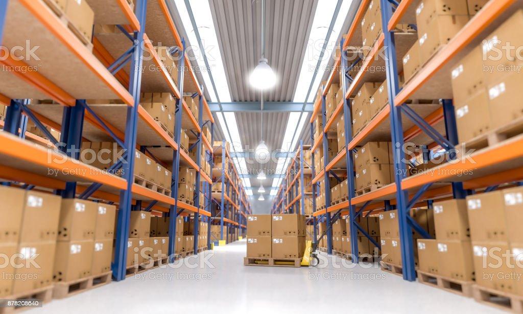 warehouse indoor view stock photo