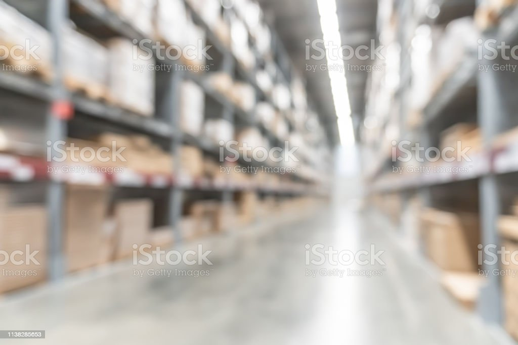Warehouse Industry Blur Background With Logistic Wholesale