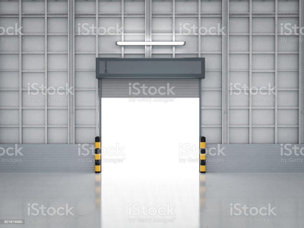warehouse interior with shutter door stock photo