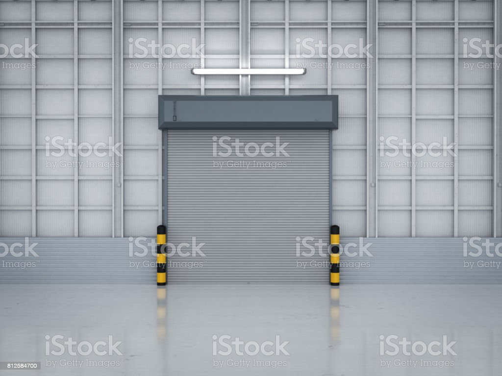 warehouse interior with shutter doors stock photo