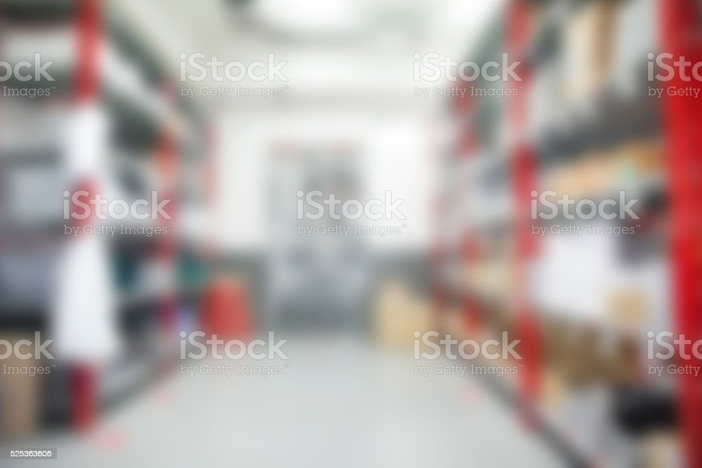 Warehouse inventory blurred for background stock photo