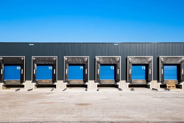 Warehouse loading docks stock photo