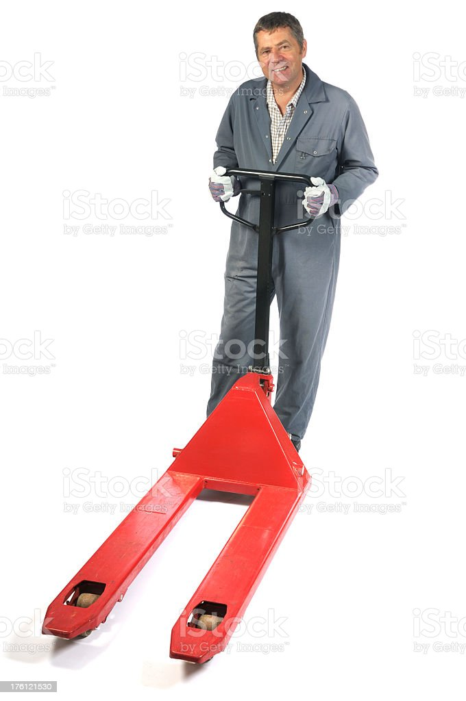 Warehouse Man with his Pallet Truck royalty-free stock photo