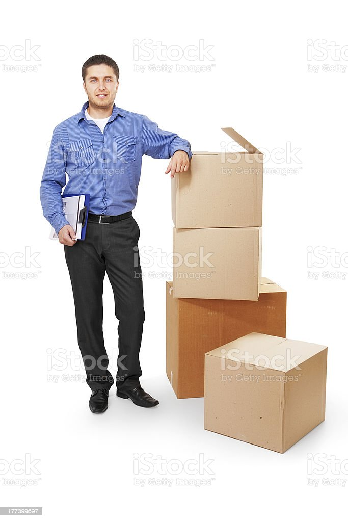Warehouse manager and cardboard boxes royalty-free stock photo