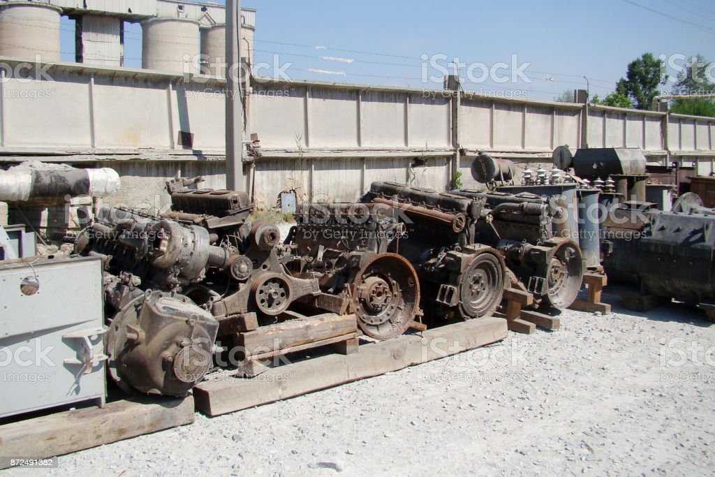 Warehouse materials in the open air. stock photo