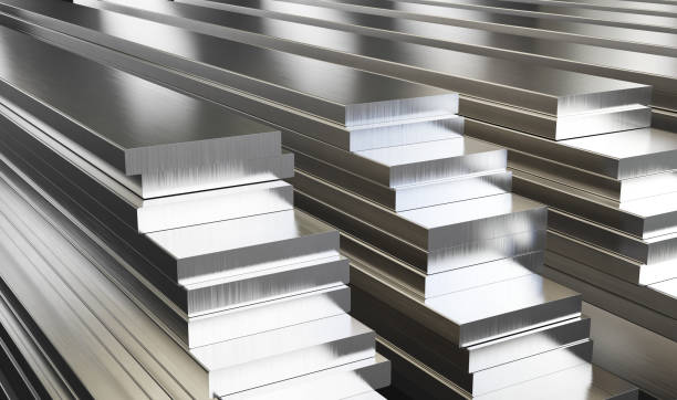 Warehouse of aluminum plates. Rolled metal products. Warehouse of aluminum plates. Rolled metal products. 3d illustration. anode stock pictures, royalty-free photos & images
