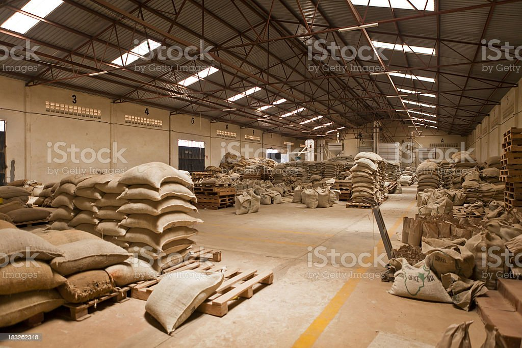 Warehouse of Coffee Mill in Kenya stock photo