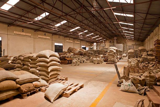 Warehouse of Coffee Mill in Kenya stock photo