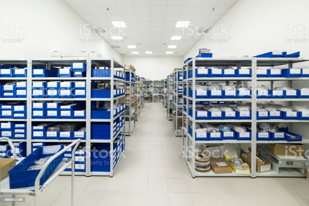 Warehouse of components for the electronics industry stock photo