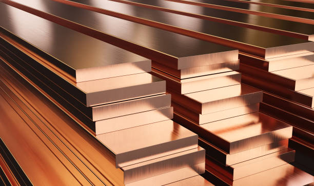 Warehouse of copper plates. Rolled metal products. Warehouse of copper plates. Rolled metal products. 3d illustration. anode stock pictures, royalty-free photos & images