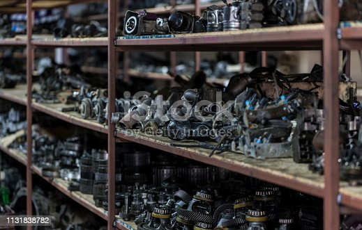 Warehouse of old machine parts