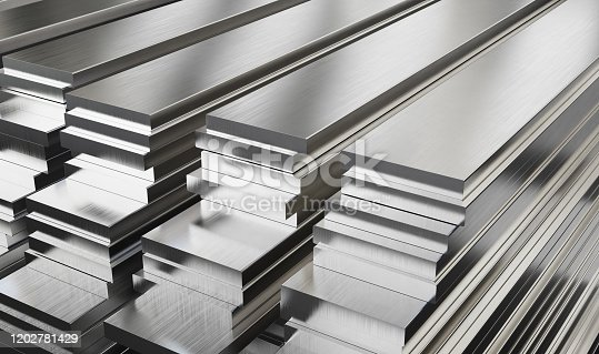 Warehouse of steel plates. Rolled metal products. 3d illustration.