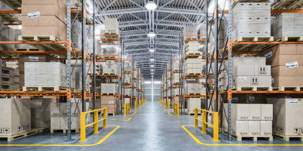 Warehouse or storage and shelves with cardboard boxes. Industrial background. stock photo