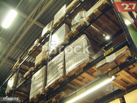 Different things on pallets stacked in a warehouse