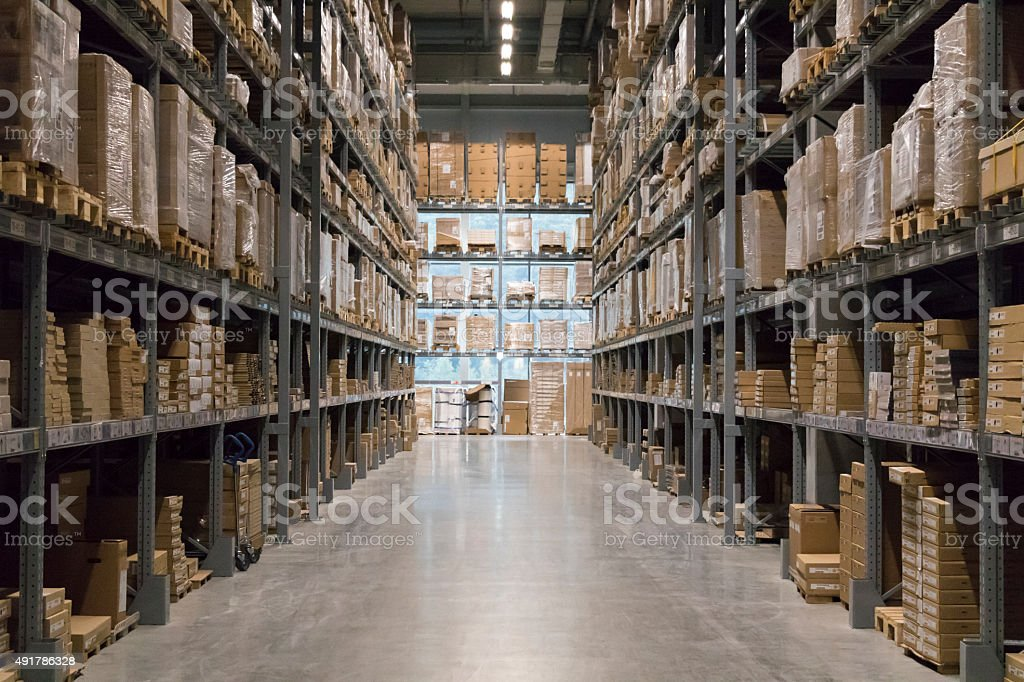 Warehouse Indoor manufacturing and storage details. 2015 Stock Photo