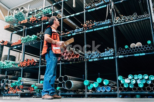 People working on pipe and seal ring distribution warehouse in Mexico