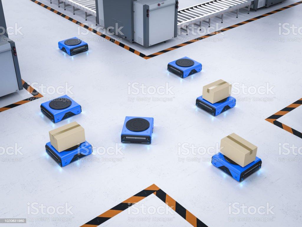로봇 창 고 운반 상자 스톡 사진