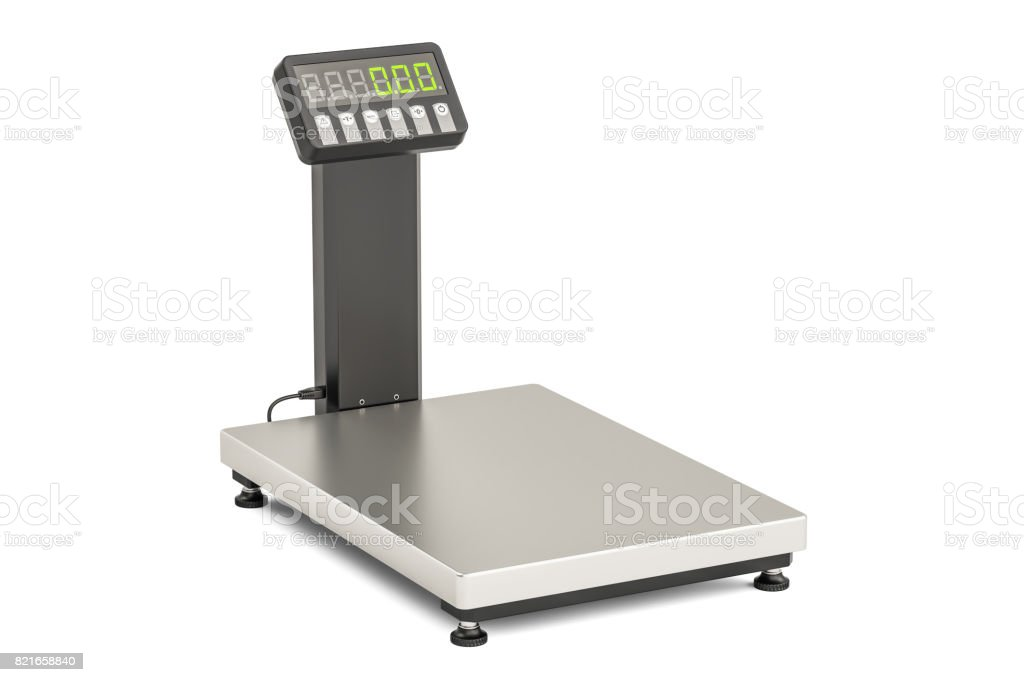 Warehouse Scale, 3D rendering isolated on white background stock photo