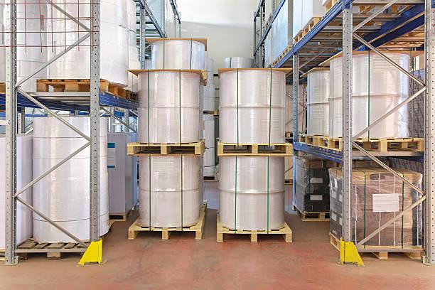 warehouse regale - papierrollenhalter stock-fotos und bilder