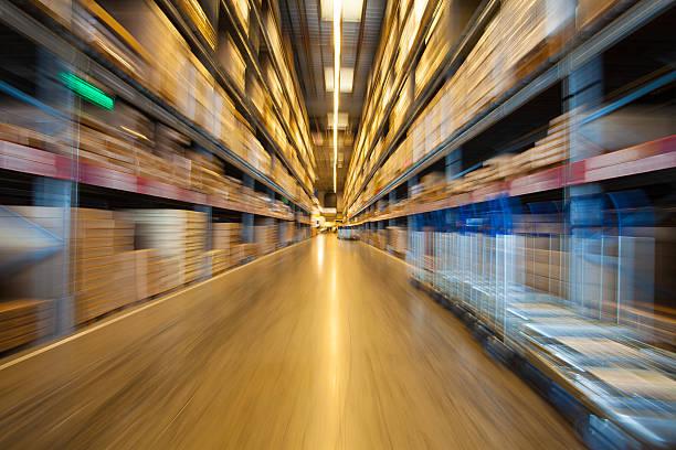 warehouse shelves stock photo