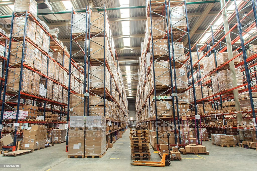 warehouse shelves with goods stock photo