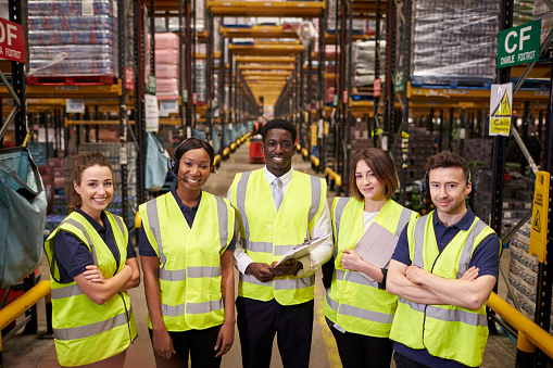 Warehouse Staff Group Portrait Elevated View Stock Photo