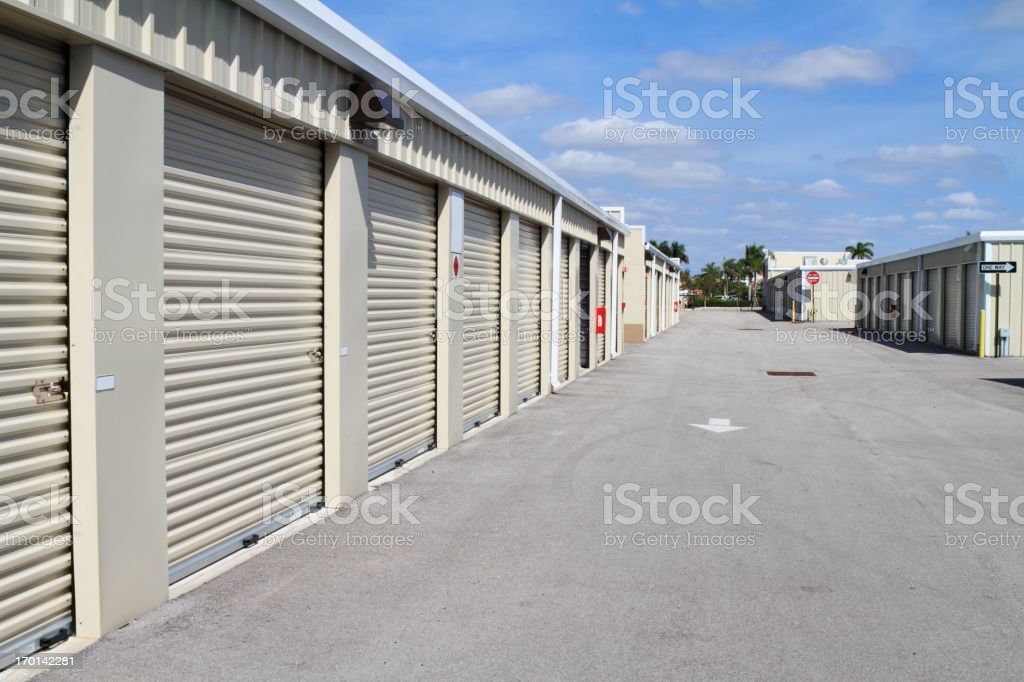 Warehouse storage units at self store facility stock photo