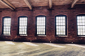 windows in an old warehouse