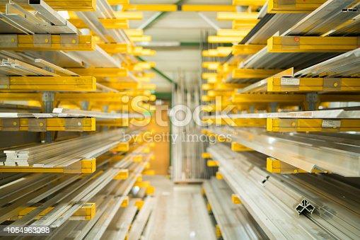 istock warehouse with aluminium profiles 1054963098