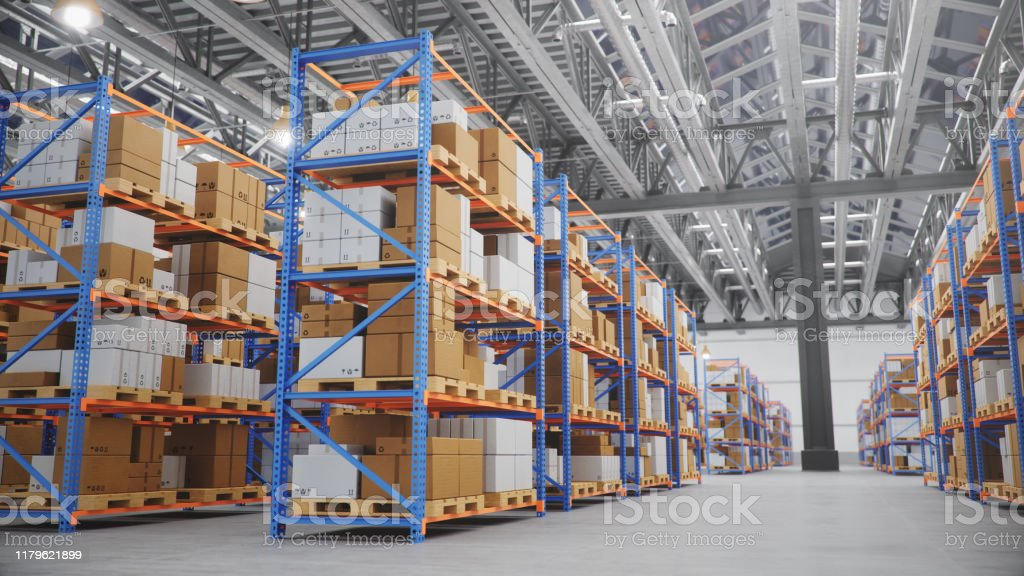 Warehouse with cardboard boxes inside on pallets racks, logistic...
