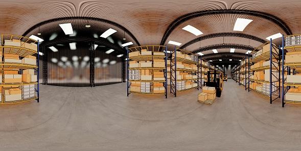 Warehouse with cardboard boxes inside on pallets racks, logistic center. Loft modern warehouse. Cardboard boxes on a conveyor belt in a warehouse, 3D rendering  VR 360.