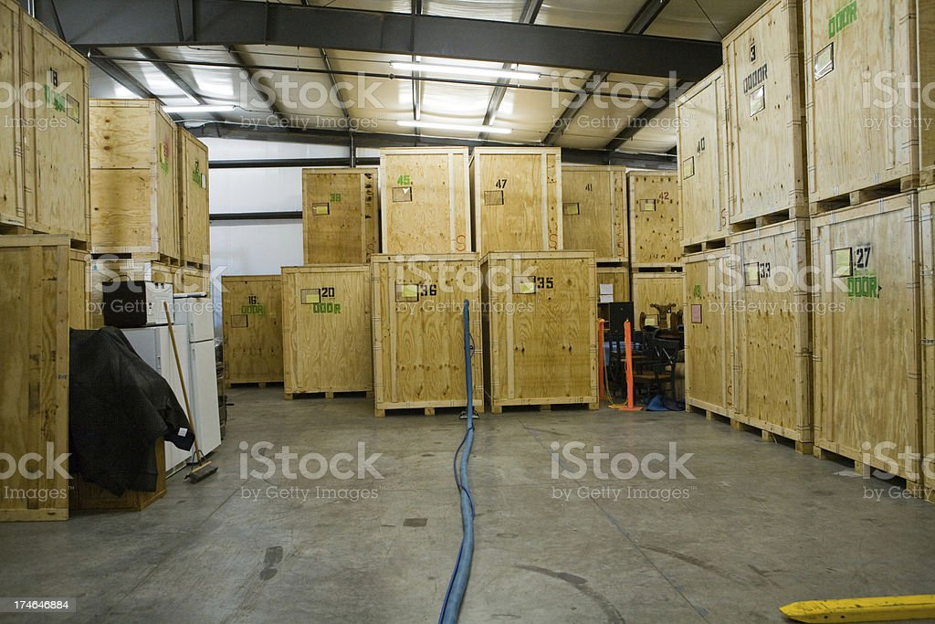 Warehouse with Crates royalty-free stock photo