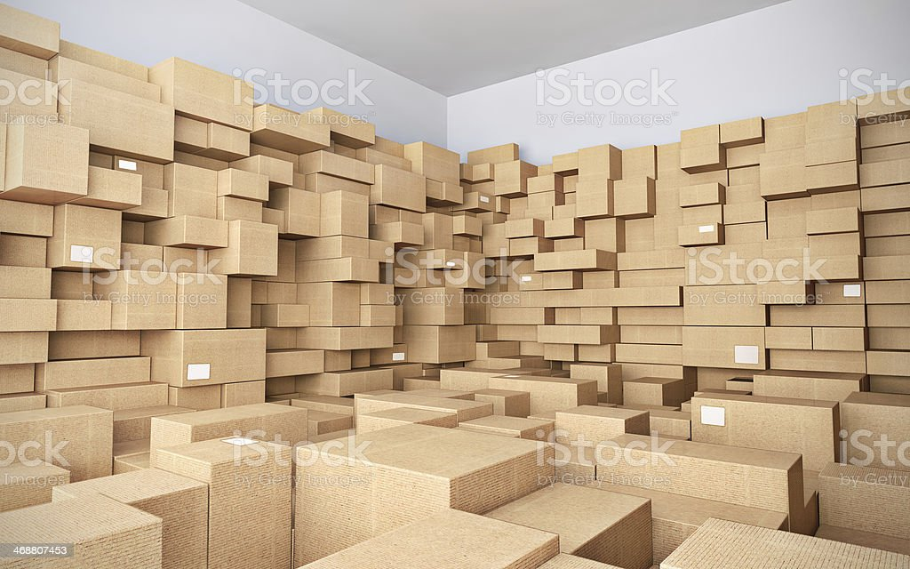 Warehouse with many cardboard boxes stock photo