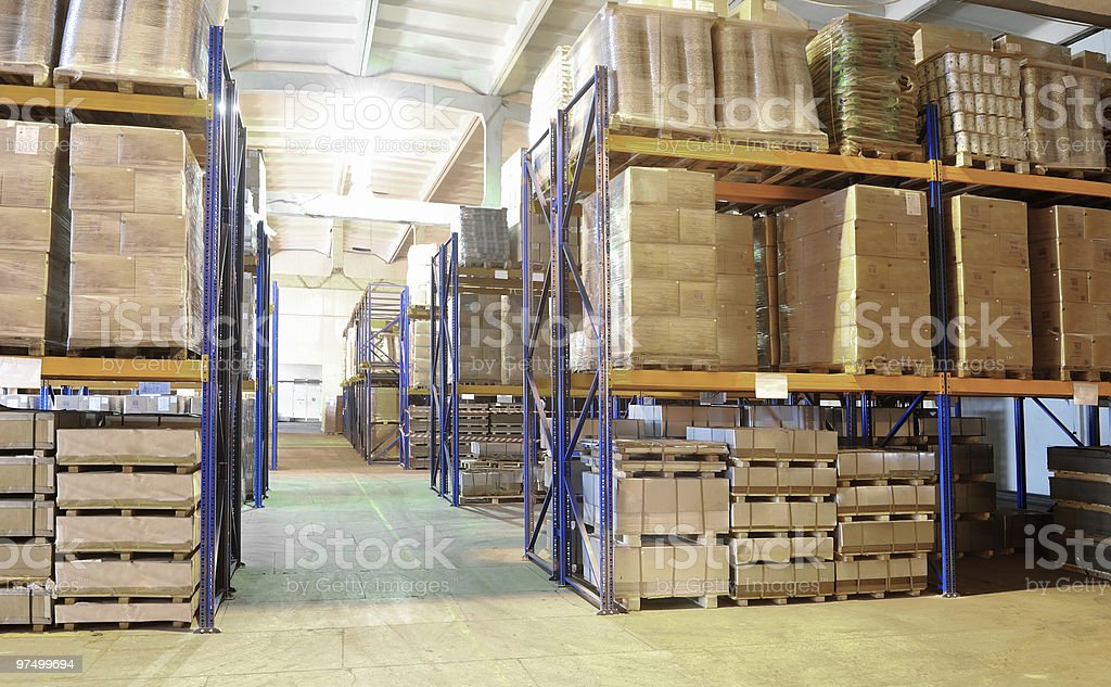 warehouse with rack arrangement royalty-free stock photo