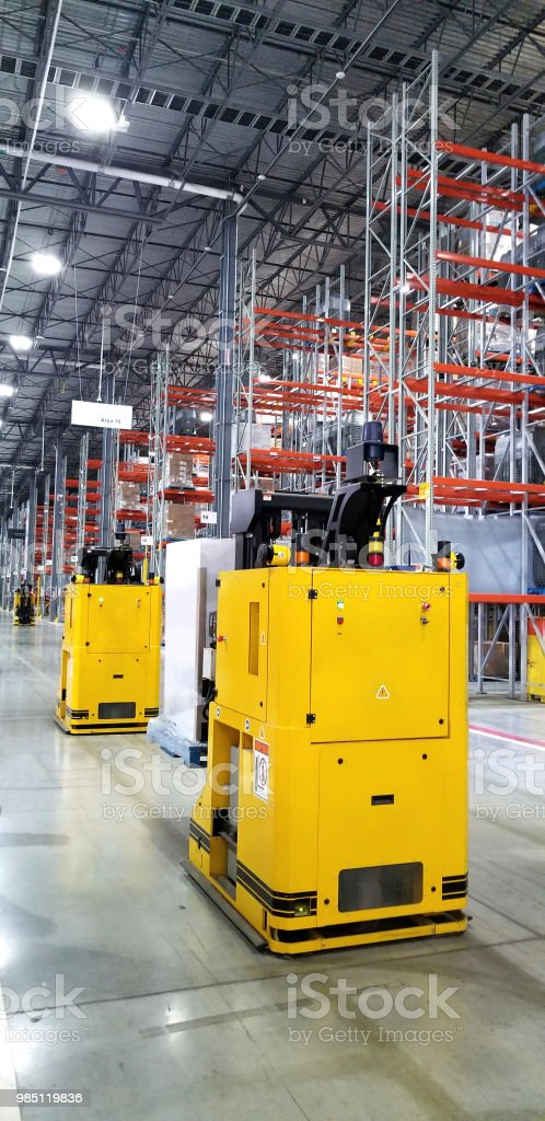 warehouse with robotic machines replacing humans stock photo
